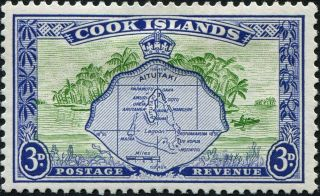 Cook Islands 1961 (qeii) 3d Green And Ultramarine Sg153b Cv £6.  00 F Mh photo