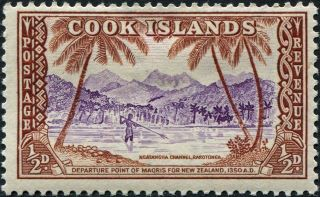 Cook Islands 1949 - 61 (kgvi - Qeii) 1/2d Violet And Brown Sg150 Cv £0.  10 F Mh photo