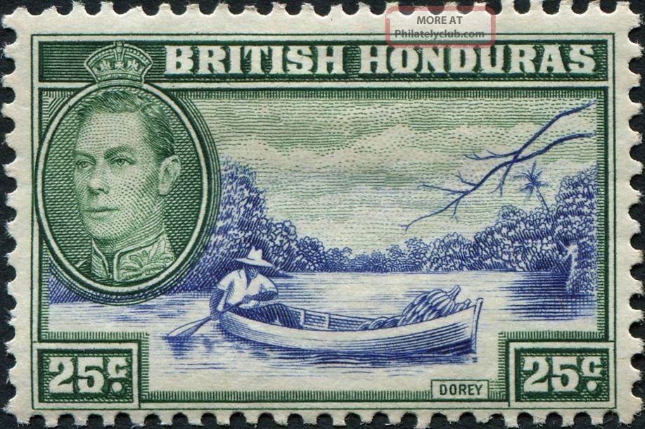 British Honduras 1938 (kgvi) 25c Blue And Green Sg157 Cv £4.  50 Mh British Colonies & Territories photo