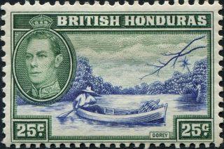 British Honduras 1938 (kgvi) 25c Blue And Green Sg157 Cv £4.  50 Mh photo