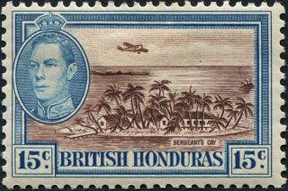 British Honduras 1938 (kgvi) 15c Brown And Light Blue Sg156 Cv £7.  50 Mh photo