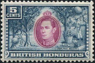 British Honduras 1938 - 47 (kgvi) 5c Mauve And Dull Blue Sg154 Cv £3.  25 Mh photo