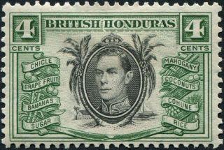 British Honduras 1938 - 47 (kgvi) 4c Black And Green Sg153 Cv £1.  50 Mh photo