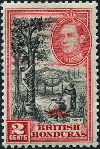 British Honduras 1938 (kgvi) 2c Black And Scarlet Sg151 Cv £1.  25 Mh photo