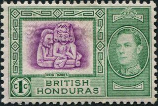 British Honduras 1938 (kgvi) 1c Bright Magenta And Green Sg150 Cv £0.  70 Mh photo