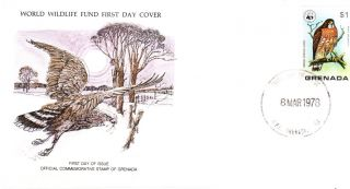 World Wildlife Fund First Day Cover - Grenada - Broad - Winged Hawk - Issue No 80 photo