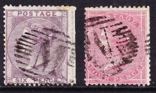 Gb In Malta 1856 Sg Z18/z20 6d & 4d Values; ' M ' Malta Cancels Cat £80+ photo