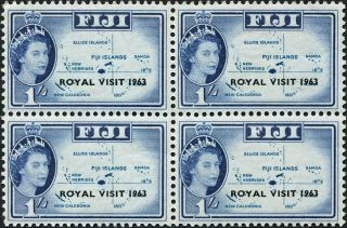 Fiji 1963 (qeii) 1s Light Blue And Blue Sg327 Cv £2.  40+ Block Of 4 photo