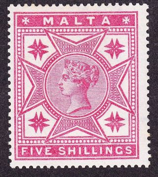 Malta Qv 1886 Sg30 5/ - Rose,  Top Value,  Cc Wmk; Good,  Cats £110 photo