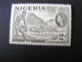 Nigeria,  Scott 83,  2p.  Value Bister & Black 1953 Qe2 Definitive Issue photo