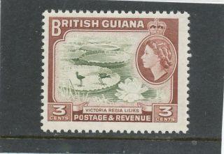 British Guiana Qeii 1954 3c Brown - Olive & Red - Brown Sg333 Um photo