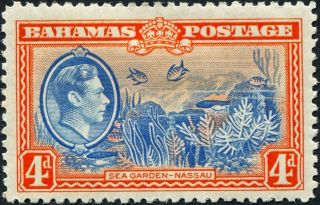 Bahamas 1938 (kgvi) 4d Light Blue And Red - Orange Sg158 Cv £1.  25 Mh photo