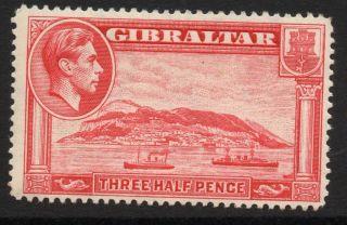 Gibraltar Sg123 1938 1½d Carmine P14 Mtd photo