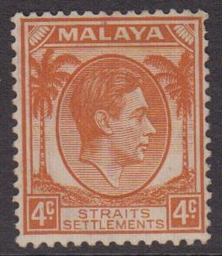 Straits Settlements Kgvi 4c Orange Sg280 Hinged 1938 George Vi Malaya Stamp photo
