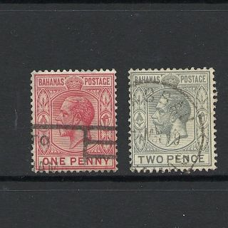 1912 King George V Sg116 And Sg118 1d Red And 2d Grey Bahamas photo
