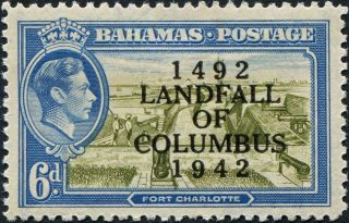 Bahamas 1942 (kgvi) 6d Olive - Green And Light Blue Sg169 Cv £0.  40 F Mh photo