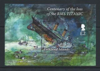 2012 Falkland Islands Centenary Of The Loss Of Rms Titanic Miniature Sheet Fu photo