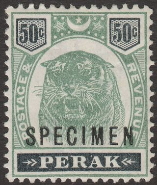 Malaya Perak 1898 Qv Tiger 50c Green And Black Specimen Opt Sg75s photo