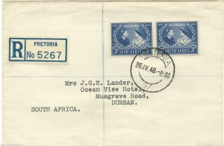 South Africa - 1948 - Silver Wedding - First Day Cover - Registered - Pretoria photo