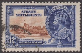 Straits Settlements Kgv 12c Brown & Deep Blue Sg258 1935 George V Jubilee photo