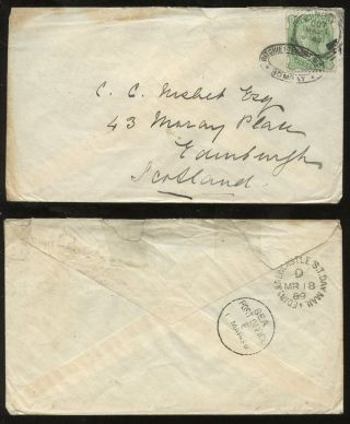 India Qv 1889 Railway Tpo Edin+newcastle Day Mail Scotland Agent Ritchie Stewart photo