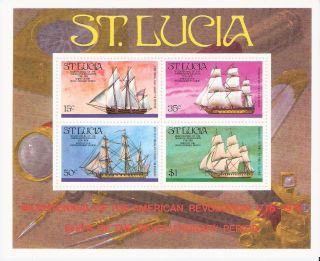 St.  Lucia 1976 Revolutionary Era Ships S/s (sc 386a) photo