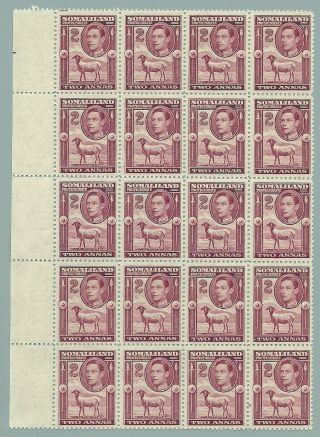 Somaliland Protectorate Sg95 The 1938 Gvi 2a Maroon In A Block Of 20 C.  £65+ photo