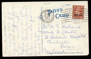 Morocco Agencies Tangier Ovpt Kgvi 2d 1951 British Post Office Machine Pmk Ppc photo