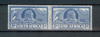 South Africa Kgvi 1938 3d + 3d Vortrekker Fund Pair Mounted Sg79 photo