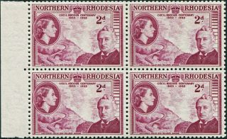 Northern Rhodesia 1953 (qeii) 2d Mauve Sg56 Cv £3.  00+ Block Of 4 photo