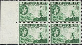 Northern Rhodesia 1953 (qeii) 1d Green Sg55 Cv £1.  80+ Block Of 4 photo