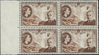 Northern Rhodesia 1953 (qeii) 1/2d Brown Sg54 Cv £2.  20+ Block Of 4 photo