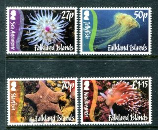 Falkland Islands 1043 - 1046, ,  2012 Marine Life Jelyfish Starfish.  X16077 photo