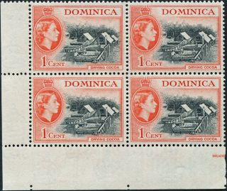 Dominica 1954 - 62 (qeii) 1c Black And Vermilion Sg141 Cv £1.  20+ P&p photo