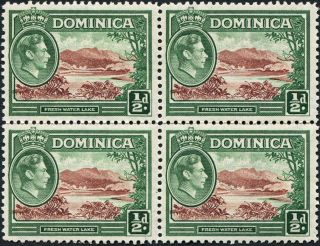 Dominica 1938 - 47 (kgvi) 1/2d Brown And Green Sg99 Cv £0.  40+ Block Of 4 photo
