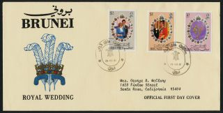 Brunei 268 - 70 On Fdc - Prince Charles,  Princess Diana,  Wedding,  Flowers photo