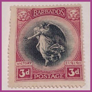 Barbados 1920 - 3d Victory From Louvre Memorial Black & Purple Mm As Per Scans photo