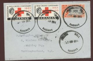 Bahamas Pirates Well 1964 External. .  Missing S. .  Red Cross + 2 X 1/2d Whitley Bay photo