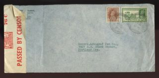 India 1940 Evergreen Motion Pictures Envelope 3a + 1/2a To Portland Oregon photo