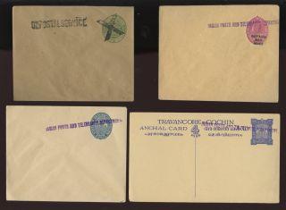 India Travancore + Cochin C1900 Stationery. .  Posts + Telegraph Opts. .  4 Items photo