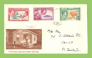 Pitcairn Island Kgvi 1½d,  1d And ½d On Illustrated Cover photo