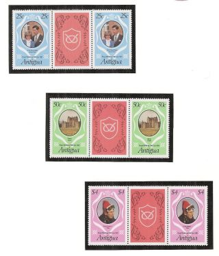 (53228) Princess Diana Wedding - Gutter Pairs X3 Antigua - 1981 - U/m photo