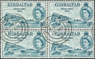 Gibraltar 1954 (qeii) 3d Greenish Blue Sg159 Cv £0.  80+ Vf Unh Block Of 4 photo