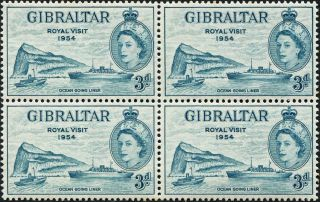Gibraltar 1954 (qeii) 3d Greenish Blue Sg159 Cv £4.  00+ Vf Block Of 4 photo