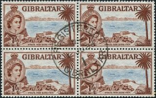 Gibraltar 1956 (qeii) 1s Pale Blue And Deep Red - Brown Sg154b Cv £7.  00+ Unh photo