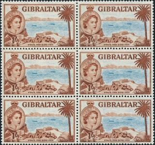 Gibraltar 1953 - 9 (qeii) 1s Pale Blue And Red - Brown Sg154 Cv £7.  50+ photo