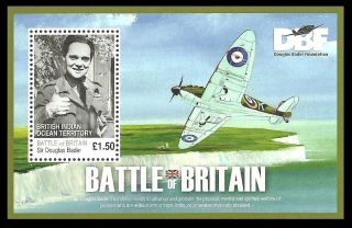 Biot British Indian Ocean 2008 Raf Aircraft Douglas Bader M/sheet photo