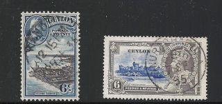Ceylon Scott 266 & 275,  Singles 1935 Fvf photo
