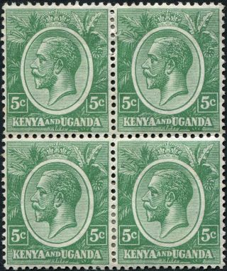 Kenya And Uganda 1927 (kgv) 5c Green Sg78 Cv £8.  00+ Mh Block Of 4 P&p photo