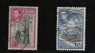 Ceylon Scott 278 & 280,  Singles 1938 - 52 Fvf photo